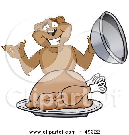 Royalty-Free (RF) Clipart Illustration of a Cougar Mascot Character Serving a Thanksgiving Turkey by Toons4Biz