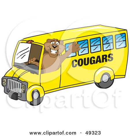 Royalty-Free (RF) Clipart Illustration of a Cougar Mascot Character School Bus Driver by Toons4Biz