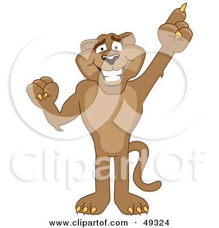 Royalty-Free (RF) Clipart Illustration of a Cougar Mascot Character Pointing Upwards by Toons4Biz