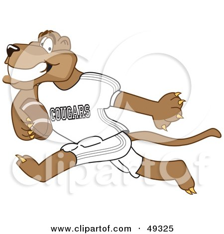 Royalty-Free (RF) Clipart Illustration of a Cougar Mascot Character Playing Football by Toons4Biz