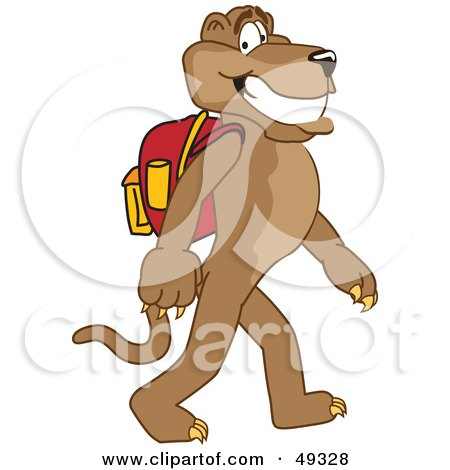 Royalty-Free (RF) Clipart Illustration of a Cougar Mascot Character Walking to School by Toons4Biz