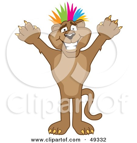 Royalty-Free (RF) Clipart Illustration of a Cougar Mascot Character With Colorful Hair by Toons4Biz