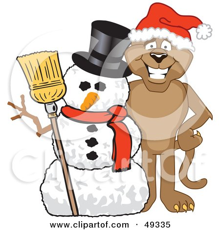 Royalty-Free (RF) Clipart Illustration of a Cougar Mascot Character With a Snowman by Toons4Biz