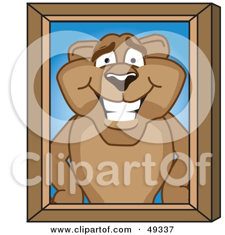 Royalty-Free (RF) Clipart Illustration of a Cougar Mascot Character Portrait by Toons4Biz