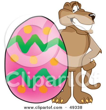 Royalty-Free (RF) Clipart Illustration of a Cougar Mascot Character With an Easter Egg by Toons4Biz