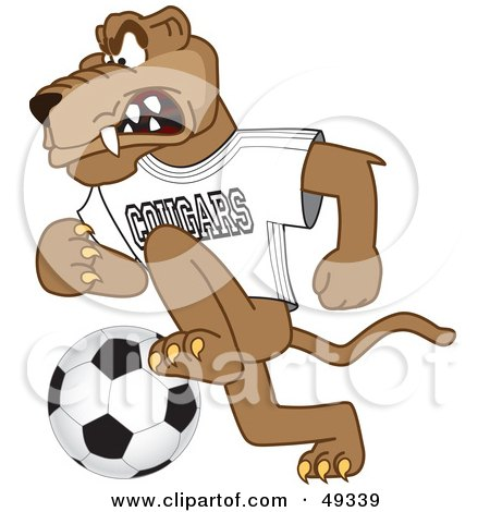 Royalty-Free (RF) Clipart Illustration of a Cougar Mascot Character Playing Soccer by Toons4Biz