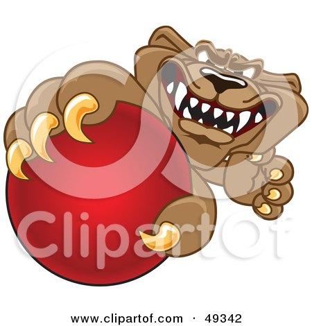 Royalty-Free (RF) Clipart Illustration of a Cougar Mascot Character Grabbing a Ball by Toons4Biz