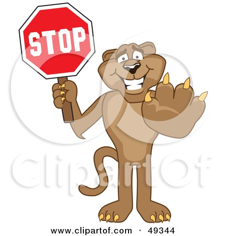Royalty-Free (RF) Clipart Illustration of a Cougar Mascot Character Holding a Stop Sign by Toons4Biz