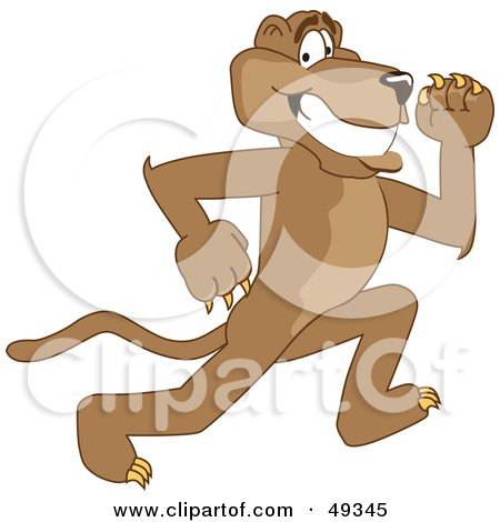 Royalty-Free (RF) Clipart Illustration of a Cougar Mascot Character Running by Toons4Biz