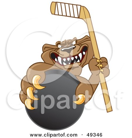 Royalty-Free (RF) Clipart Illustration of a Cougar Mascot Character Grasping a Hockey Puck by Toons4Biz