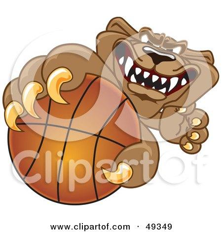 Royalty-Free (RF) Clipart Illustration of a Cougar Mascot Character Grabbing a Basketball by Toons4Biz