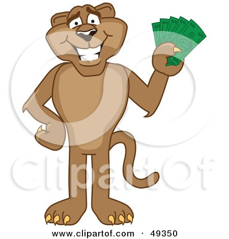 Royalty-Free (RF) Clipart Illustration of a Cougar Mascot Character Holding Money by Toons4Biz