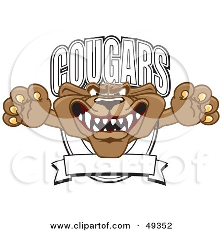 Royalty-Free (RF) Clipart Illustration of a Cougar Mascot Character School Banner Logo by Toons4Biz