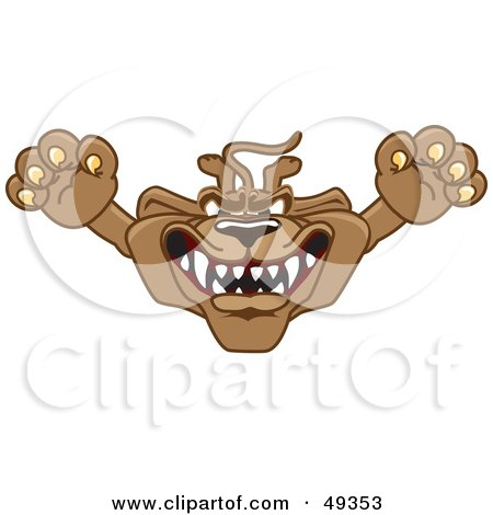 Royalty-Free (RF) Clipart Illustration of a Cougar Mascot Character Leaping Outwards by Toons4Biz