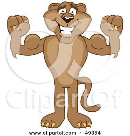 Royalty-Free (RF) Clipart Illustration of a Cougar Mascot Character Flexing by Toons4Biz