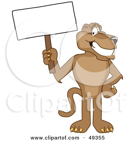 Royalty-Free (RF) Clipart Illustration of a Cougar Mascot Character Holding a Blank Sign by Toons4Biz