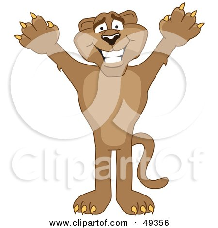 Royalty-Free (RF) Clipart Illustration of a Cougar Mascot Character Holding His Arms Up by Toons4Biz