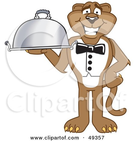 Royalty-Free (RF) Clipart Illustration of a Cougar Mascot Character Serving a Platter by Toons4Biz