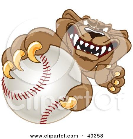 Royalty-Free (RF) Clipart Illustration of a Cougar Mascot Character Grabbing a Baseball by Toons4Biz
