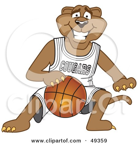 Royalty-Free (RF) Clipart Illustration of a Cougar Mascot Character Dribbling a Basketball by Toons4Biz