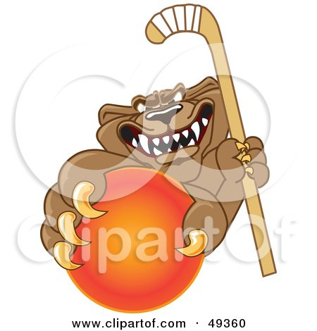 Royalty-Free (RF) Clipart Illustration of a Cougar Mascot Character Grabbing a Hockey Ball by Toons4Biz