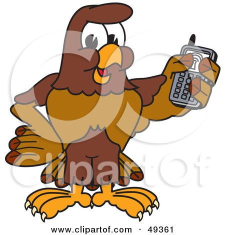 Royalty-Free (RF) Clipart Illustration of a Falcon Mascot Character Holding a Cell Phone by Toons4Biz