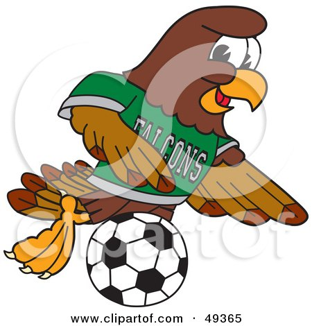 Royalty-Free (RF) Clipart Illustration of a Falcon Mascot Character Playing Soccer by Toons4Biz