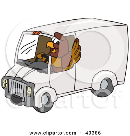 Royalty-Free (RF) Clipart Illustration of a Falcon Mascot Character Driving a Delivery Van by Toons4Biz