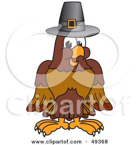 Royalty-Free (RF) Clipart Illustration of a Falcon Mascot Character Wearing a Pilgrim Hat by Toons4Biz