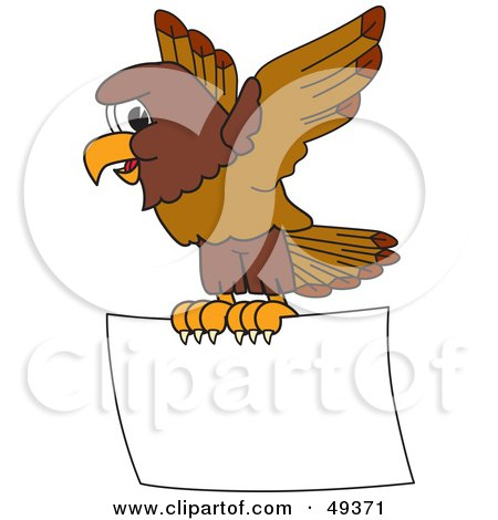 Royalty-Free (RF) Clipart Illustration of a Falcon Mascot Character Flying a Blank Sign by Toons4Biz