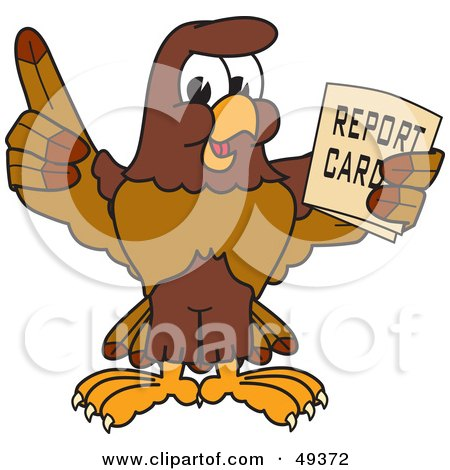 Royalty-Free (RF) Clipart Illustration of a Falcon Mascot Character Holding a Report Card by Toons4Biz