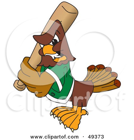 Royalty-Free (RF) Clipart Illustration of a Falcon Mascot Character Batting by Toons4Biz