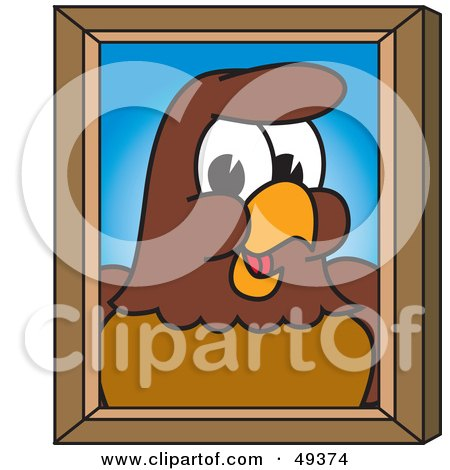 Royalty-Free (RF) Clipart Illustration of a Falcon Mascot Character Portrait by Toons4Biz