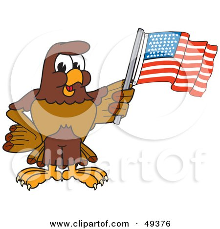 Royalty-Free (RF) Clipart Illustration of a Falcon Mascot Character Waving an American Flag by Toons4Biz