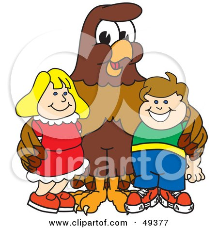 Royalty-Free (RF) Clipart Illustration of a Falcon Mascot Character With Children by Toons4Biz