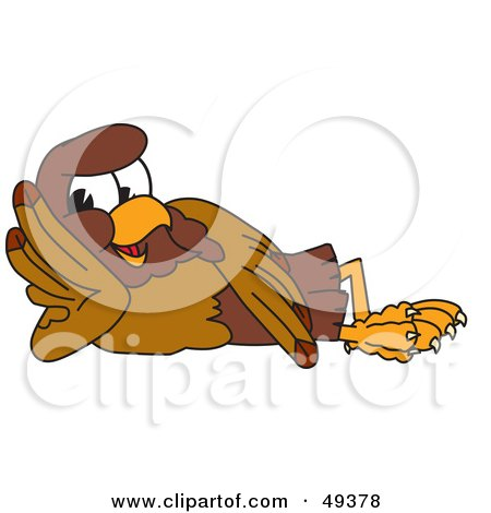 Royalty-Free (RF) Clipart Illustration of a Falcon Mascot Character Reclined by Toons4Biz