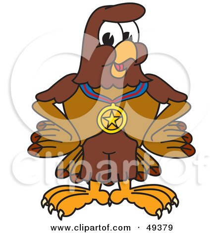 Royalty-Free (RF) Clipart Illustration of a Falcon Mascot Character Wearing a Medal by Toons4Biz