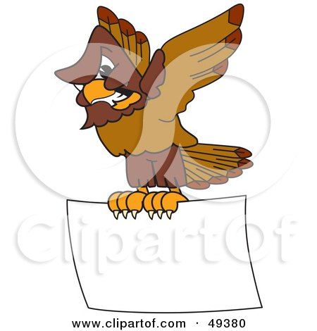 Royalty-Free (RF) Clipart Illustration of a Falcon Mascot Character Carrying a Blank Sign by Toons4Biz