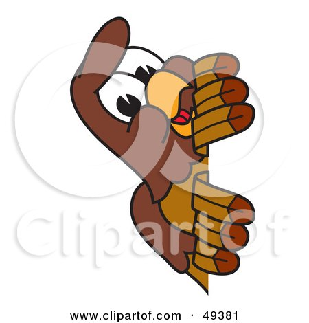 Royalty-Free (RF) Clipart Illustration of a Falcon Mascot Character Peeking by Toons4Biz