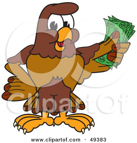 Royalty-Free (RF) Clipart Illustration of a Falcon Mascot Character Holding Cash by Toons4Biz