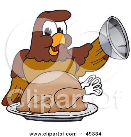 Royalty-Free (RF) Clipart Illustration of a Falcon Mascot Character Serving a Turkey by Toons4Biz