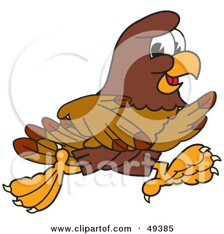 Royalty-Free (RF) Clipart Illustration of a Falcon Mascot Character Running by Toons4Biz
