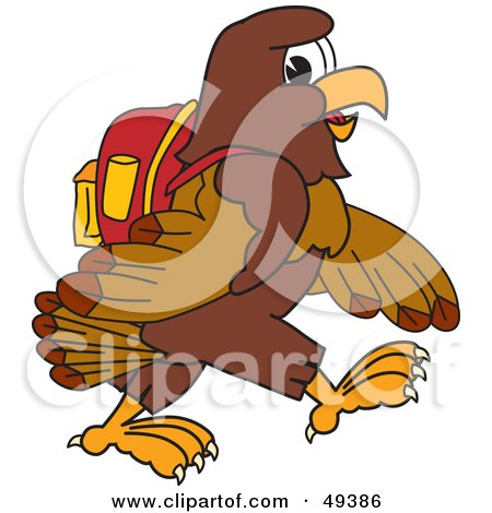 Royalty-Free (RF) Clipart Illustration of a Falcon Mascot Character Walking to School by Toons4Biz