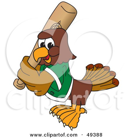 Royalty-Free (RF) Clipart Illustration of a Falcon Mascot Character Playing Baseball by Toons4Biz