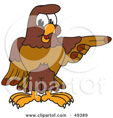 Royalty-Free (RF) Clipart Illustration of a Falcon Mascot Character Pointing Right by Toons4Biz