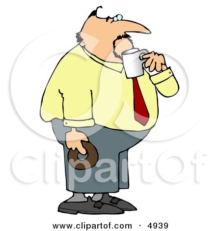 Obese Businessman On His Coffee & Donut Break Posters, Art Prints