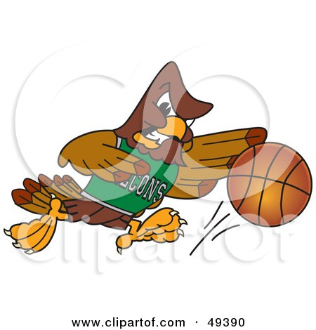 Royalty-Free (RF) Clipart Illustration of a Falcon Mascot Character Playing Basketball by Toons4Biz