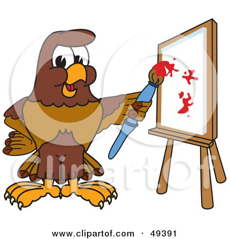 Royalty-Free (RF) Clipart Illustration of a Falcon Mascot Character Painting by Toons4Biz