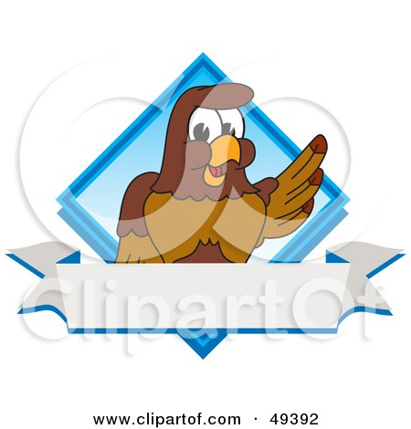 Royalty-Free (RF) Clipart Illustration of a Falcon Mascot Character Diamond Logo by Toons4Biz