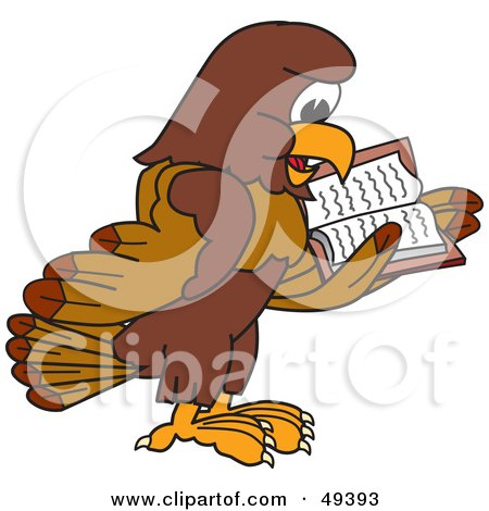 Royalty-Free (RF) Clipart Illustration of a Falcon Mascot Character Reading by Toons4Biz